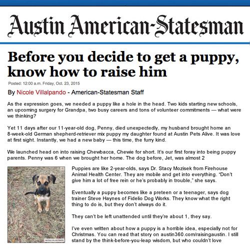 Article featuring Fidelio in Austin American Statesman 2015